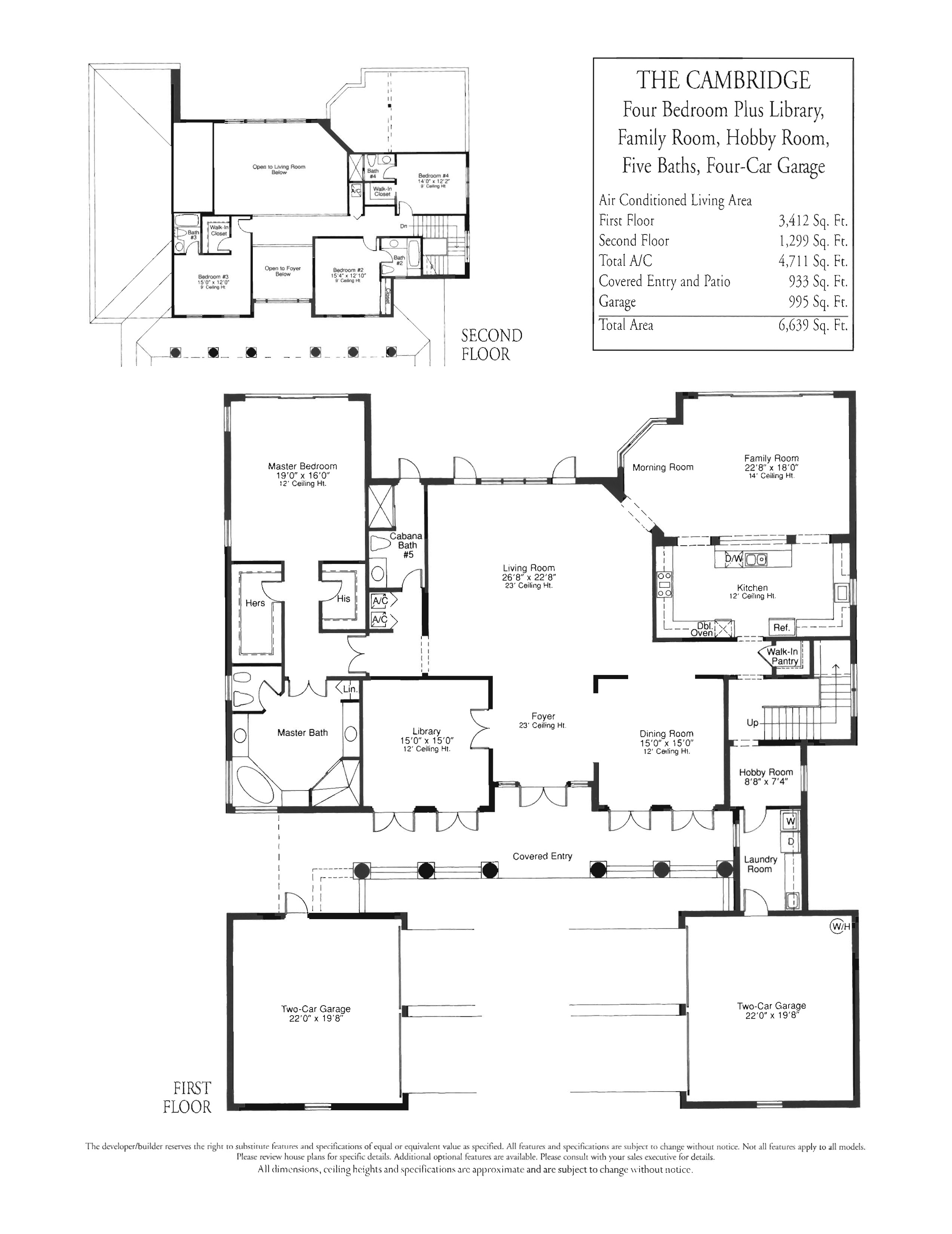 4 br   Library   hobby room 5 bath 4 car garage 4 711 a c sq ft   6 639  total sq ft. Stonebrook Estates   Floor Plans and Community Profile